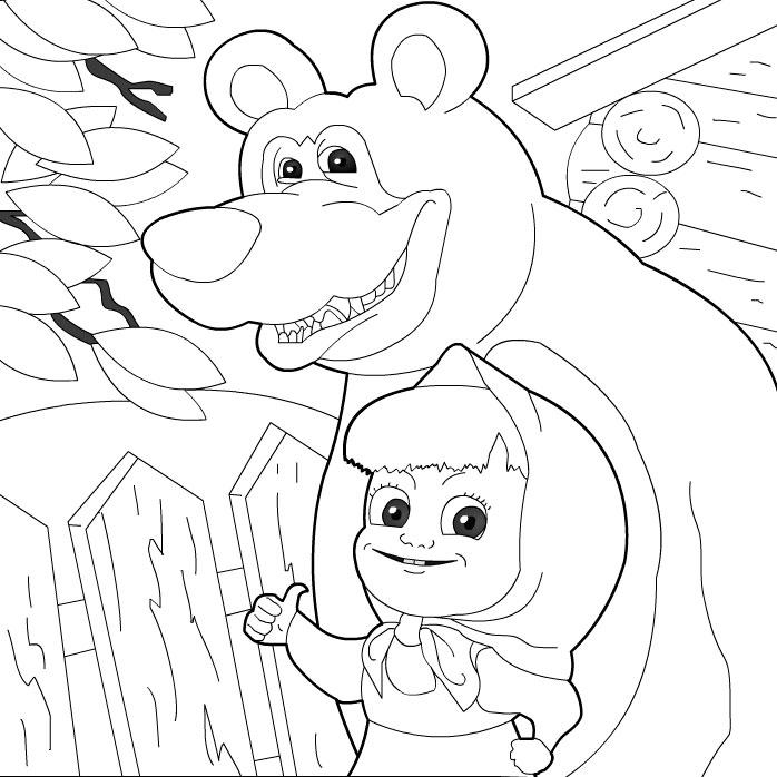 Раскраска игры маша и медведь