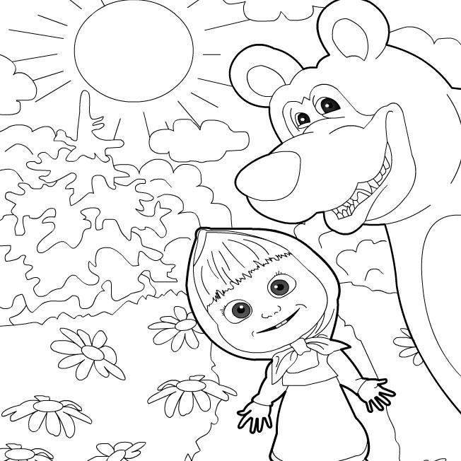 Маша и медведи раскраски скачать